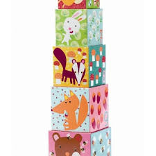 Djeco Stackable Cubes for babies and toddlers Forest