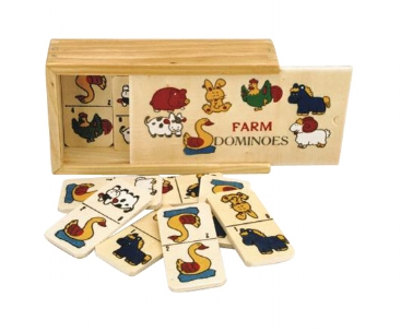 Farm Animals Wooden Dominoes
