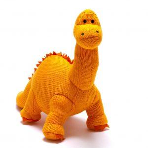 Knitted Orange Dippy Dinosaur soft toy