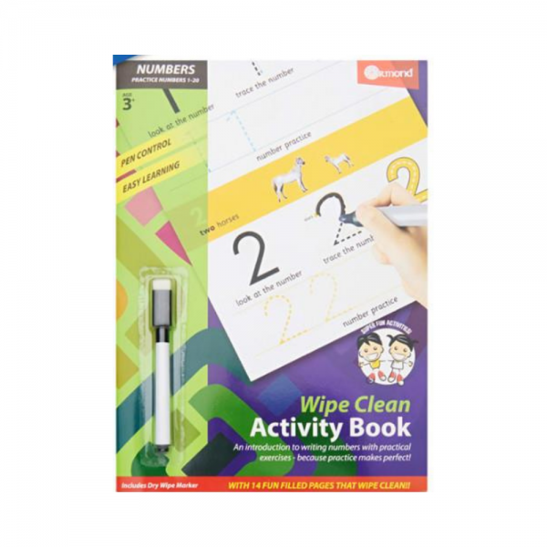 A4 Wipe Clean Learning Numbers Book with Pen