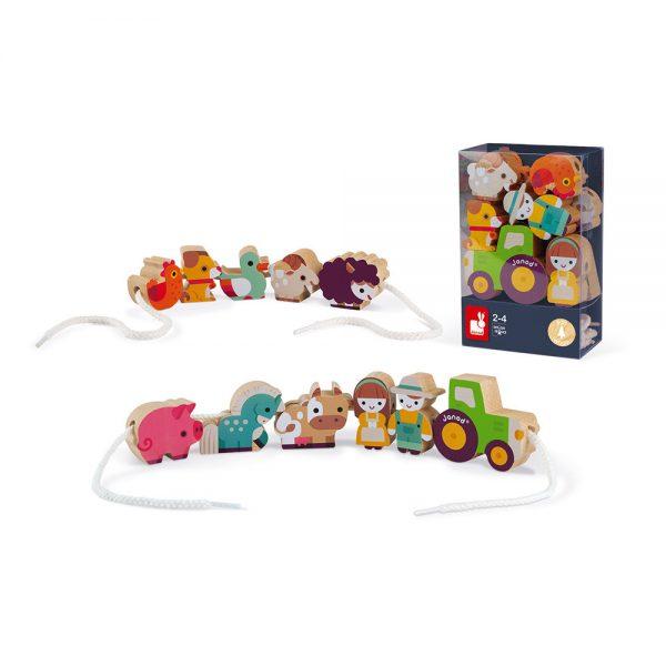 Janod - Stringable wooden Farm-Themed Beads