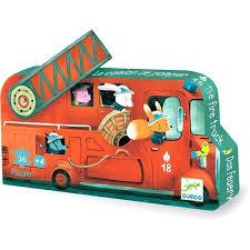 Djeco – 16 Piece Fire Truck Silhouette Puzzle