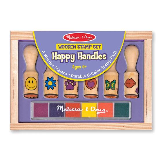 Melissa and Doug Wooden Happy Handle Stamp Set