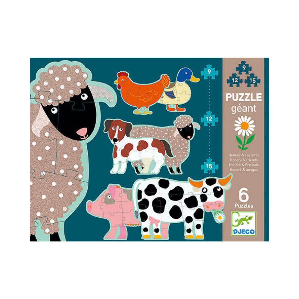 6 Puzzles in a Box : Animals Floor Puzzle