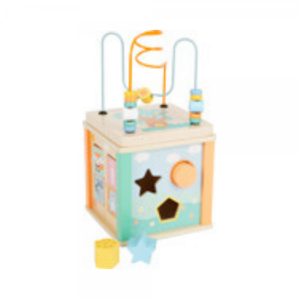 Pastel Activity Cube for babies and toddlers from Small Foot Design Wooden Toys