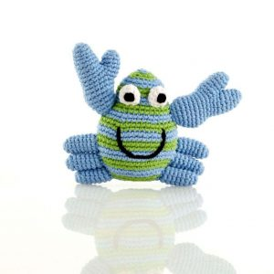 Crocheted crab baby rattle from Pebble fairly traded toys