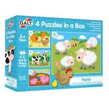 4 Farm Jigsaw Puzzles in a box from Galt for preschool aged children
