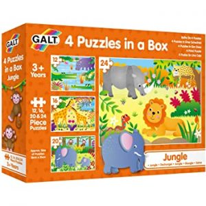 4 Jungle jigsaw puzzles in a box from Galt Toys