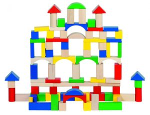 Drum of wooden building blocks from Goki toys. Sustainably sourced wooden toys
