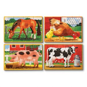4 wooden farm jigsaw puzzles in a box by Melissa and Doug