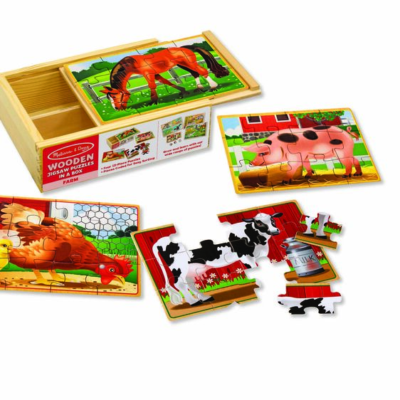 Melissa and Doug – Farm Animal Puzzles in a Box
