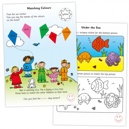 Colours Shapes and Sizes Sticker Book by Galt for pre school aged children