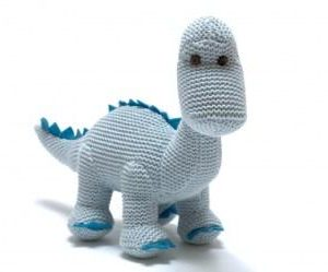 Knitted Organic Cotton Dinosaur Rattle - Baby Blue