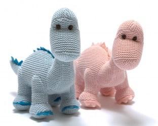 Knitted Organic Cotton Dinosaur Rattle