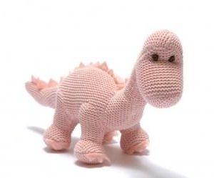 Knitted Organic Cotton Dinosaur Rattle - Pink