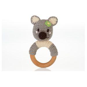 Koala Bear Crocheted Teething Ring Rattle - Fairtrade Baby Gift