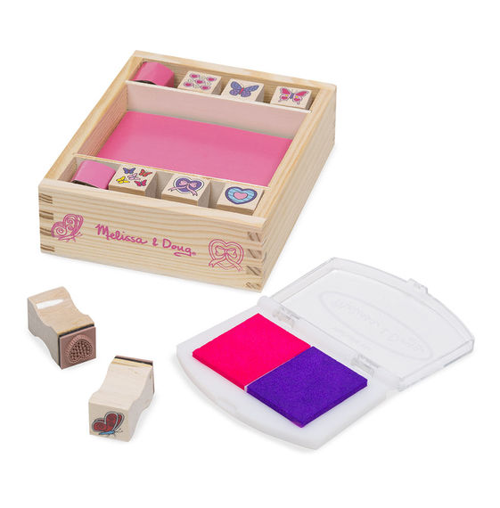 Melissa and Doug Wooden Stamp Set Butterflies and Hearts