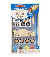 Melissa and Doug Toys Paint and Decorate your own race car wooden toy