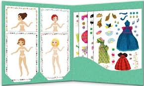 Dress up the paper dolls with stickers from Djeco