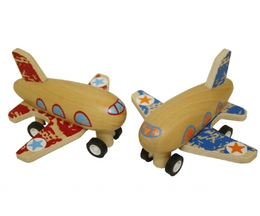 Wooden Pull Back Airplane Toy