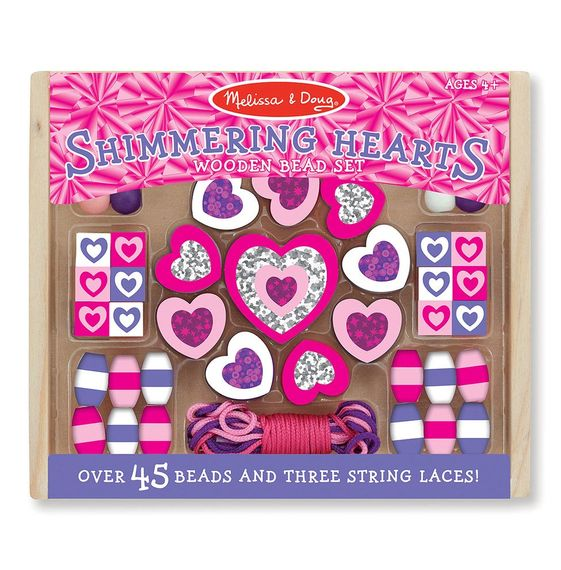 Shimmering Hearts wooden bead set for children by Melissa and Doug Toys