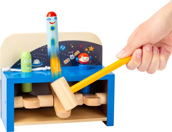 Space themed wooden hammer bench for toddlers from Small Foot Design Toys