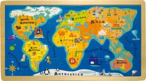Wooden World Map Jigsaw Puzzle