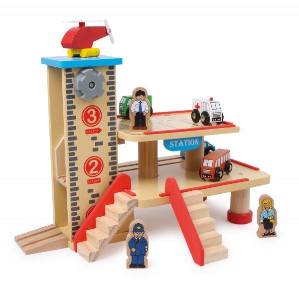 Wooden Train Station Parking Garage Toy