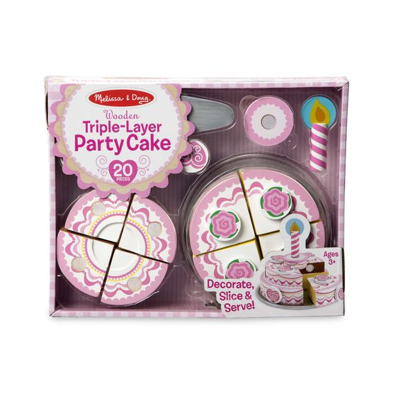 Melissa and Doug Triple Layer Party Cake wooden play food available at Toys and Games Ireland