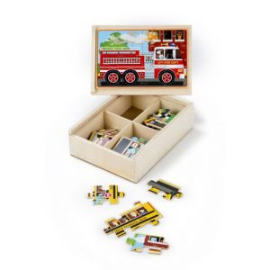 Melissa and Doug Vehicle Puzzles in a Box. Wooden Jigsaw puzzles