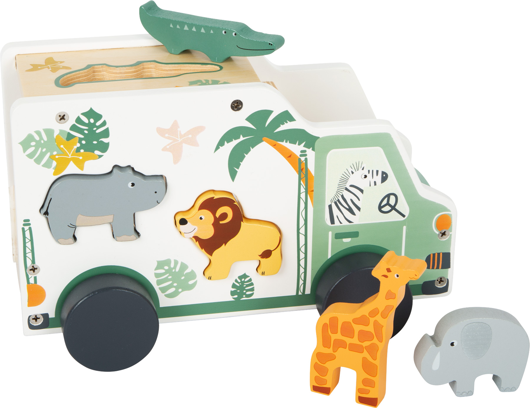 Wooden Shape Sorting Safari Bus with Animals