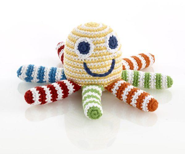Fair Trade Crochet Octopus Rattle- Pebble Baby Toys