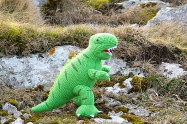 Green knitted t-rex soft toy
