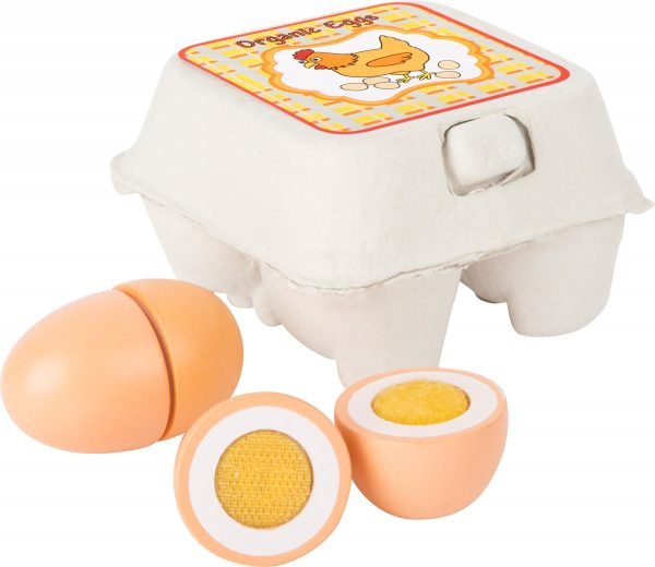 Egg box with 4 wooden eggs for pretend play, from Small Foot Design Toys